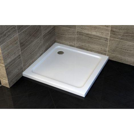 Receveur de douche carré - 80 x 80 cm et système d'évacuation