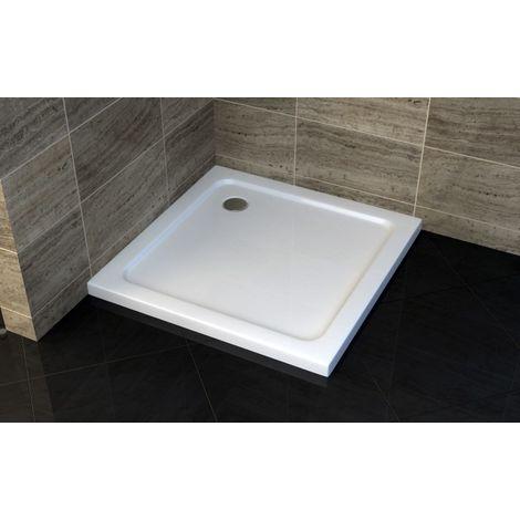 Receveur de douche carré - 90 x 90 cm et système d'évacuation