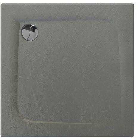 Receveur de douche carré effet pierre Mooneo - L. 80 x l. 80 cm - Noir - Noir