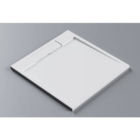 Receveur de douche carré PB3086 en pierre solide (Solid Stone) - blanc mat - 100x100x3,5 cm