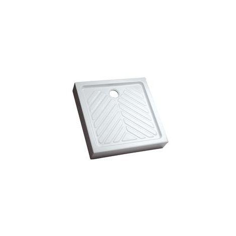 Receveur de douche céramique PRIMA surélevé à cuve extra-plate de 80 x 80 cm pour bonde de 90 mm fond Antiglisse blanc