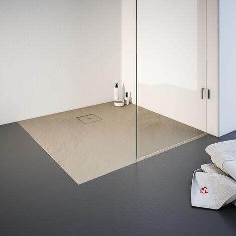 Receveur de douche de plain-pied 100 x 100 cm en résine minérale, cadre, Schulte