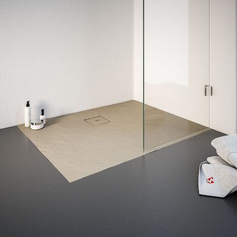 Receveur de douche de plain-pied 80 x 100 cm en résine minérale, rectangulaire, Schulte