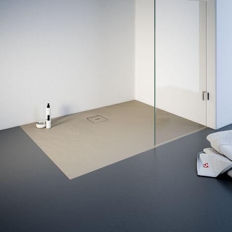 Receveur de douche de plain-pied 80 x 120 cm en résine minérale, rectangulaire, Schulte