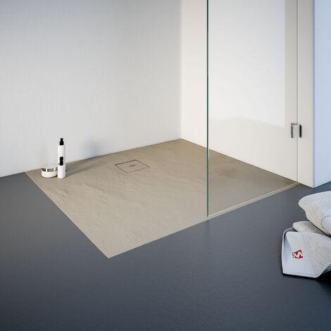 Receveur de douche de plain-pied 90 x 100 cm en résine minérale, rectangulaire, Schulte