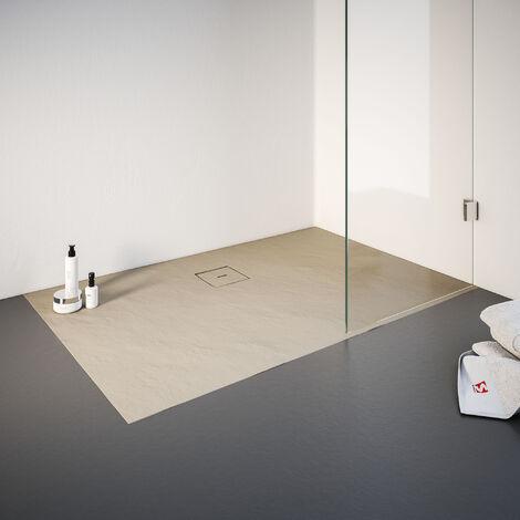 Receveur de douche de plain-pied 90 x 140 cm en résine minérale, rectangulaire, Schulte