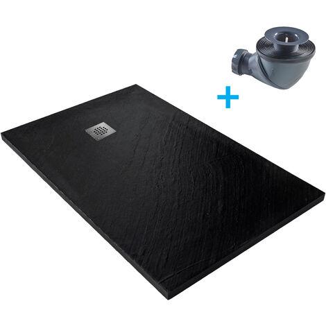 Receveur de douche en pierre naturelle 120 x 90 cm graphite + natte étanche + siphon 360°