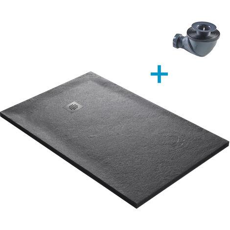 Receveur de douche en pierre naturelle 140 x 90 cm roche de mer + natte étanche + siphon 360°