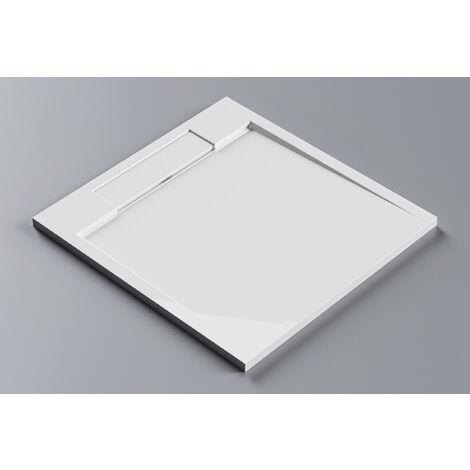 Receveur de douche en pierre solide - carré - M9090CW / PB3087 - 90x90x3,5cm - blanc brillant