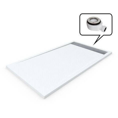 """main image of """"Receveur de douche en Résine avec Cadre. Texture Ardoise. Blanc RAL: 9003"""""""