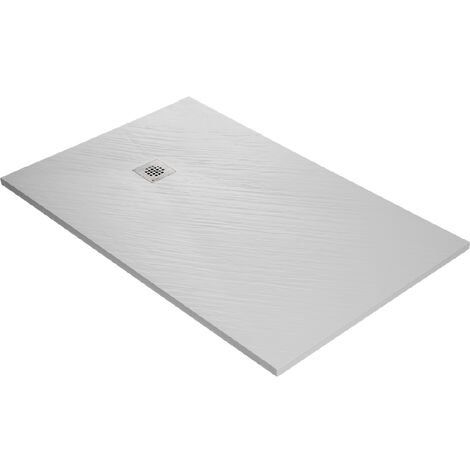 Receveur de douche en résine imitation pierre 120 x 80 cm blanc + natte étanche + siphon 360°