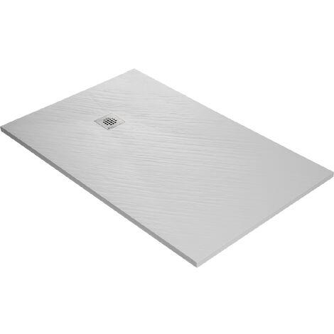 Receveur de douche en résine imitation pierre 160 x 90 cm blanc + natte étanche + siphon 360°