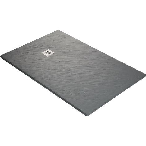 Receveur de douche en résine imitation pierre 160 x 90 cm gris taupe + natte étanche + siphon 360°