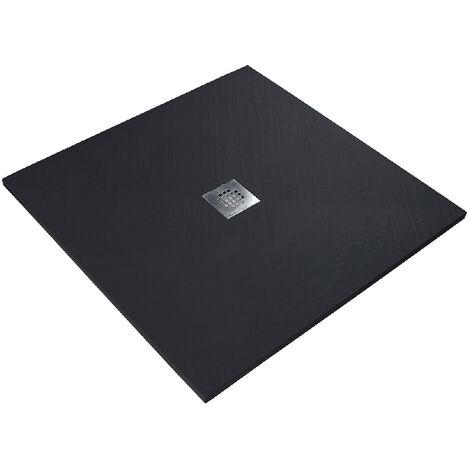Receveur de douche en résine imitation pierre 160 x 90 cm noir + natte étanche + siphon 360°