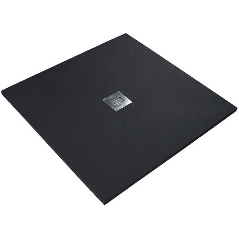 Receveur de douche en résine imitation pierre 90 x 90 cm noir + natte étanche + siphon 360°