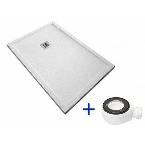 Receveur de douche extra plat avec bordures EMC Blanc Ral 9003 100X80 + Bonde