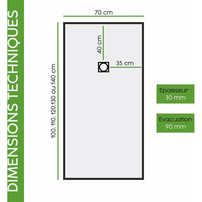 GRIS RAL 7035 RECEVEUR DE DOUCHE RESINE TEXTURE ARDOISE AVEC CADRE 70X140