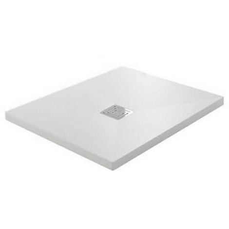Receveur de Douche extra plat Carré - Solid Surface Blanc - 80x80cm - Quadra Plus