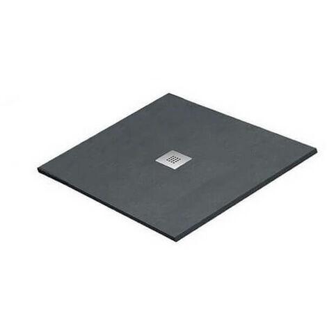 Receveur de Douche extra plat Carré - Solid Surface Gris Anthracite - 80x80cm - Quadra Plus