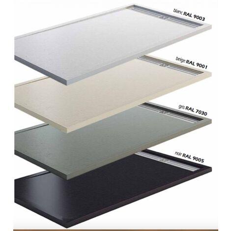 Receveur de douche extra plat en charge minérale 100x80 cm gris Style Plus - Gris