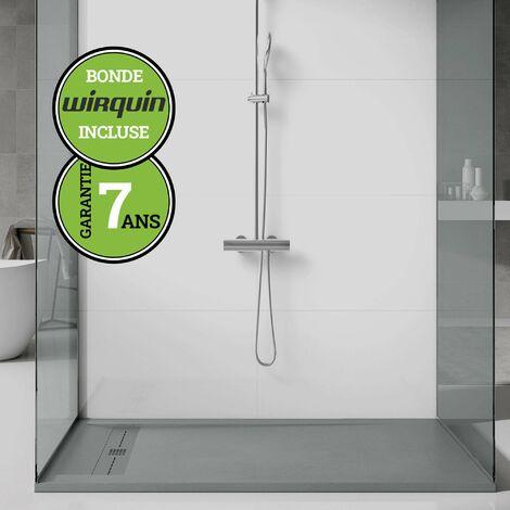 Receveur de douche extra-plat - Gris Ciment - 80x200 cm   Collection G I antiderapant et pose rapide