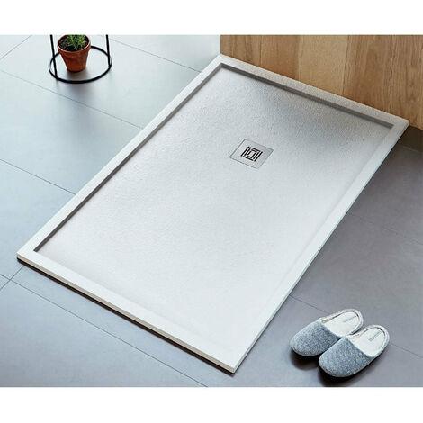 Receveur de douche extra plat LOGIC ENCADRE surface ardoisée, rectangulaire blanc