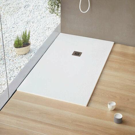 Receveur de douche extra plat LOGIC surface ardoisée, carré blanc