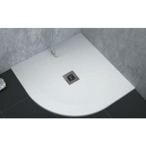 Receveur de douche extra plat LOGIC surface ardoisée, semi-circulaire blanc