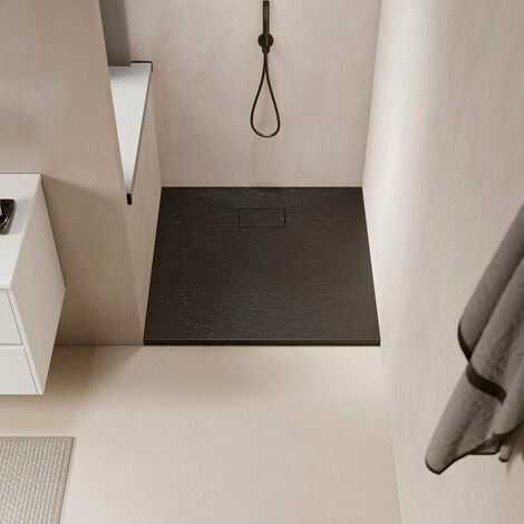Receveur de douche extra plat PIATTO en SoliCast® 80x80 surface ardoisée, gris noir