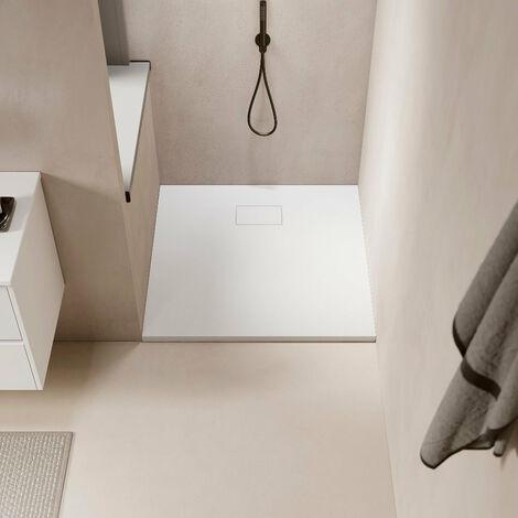 Receveur de douche extra plat PIATTO en SoliCast® surface ardoisée, carré blanc