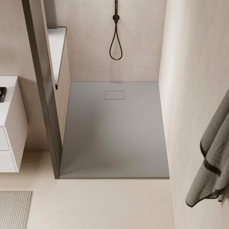 Receveur de douche extra plat PIATTO en SoliCast® surface ardoisée, rectangulaire largeur 80cm gris