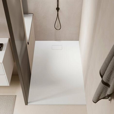 Receveur de douche extra plat PIATTO en SoliCast® surface ardoisée, rectangulaire largeur 90cm blanc