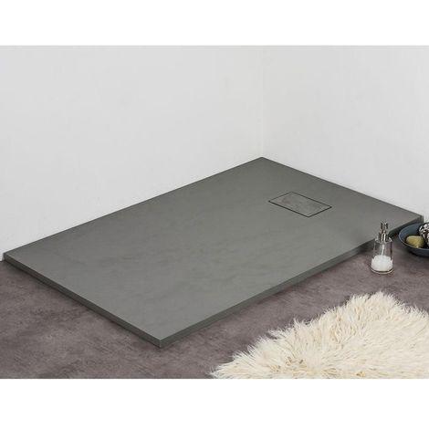 Receveur de douche extra plat PIATTO en SoliCast® surface ardoisée, rectangulaire largeur 90cm gris