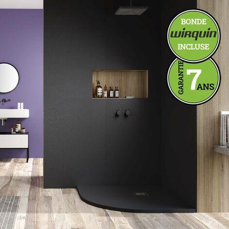 Receveur de douche extra-plat - Semi-Circulaire - 80x80 cm   Noir Anthracite