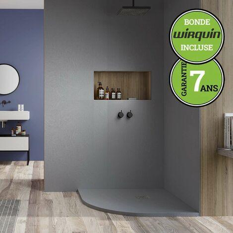 Receveur de douche extra-plat - Semi-Circulaire - 90x90 cm | Gris Ciment