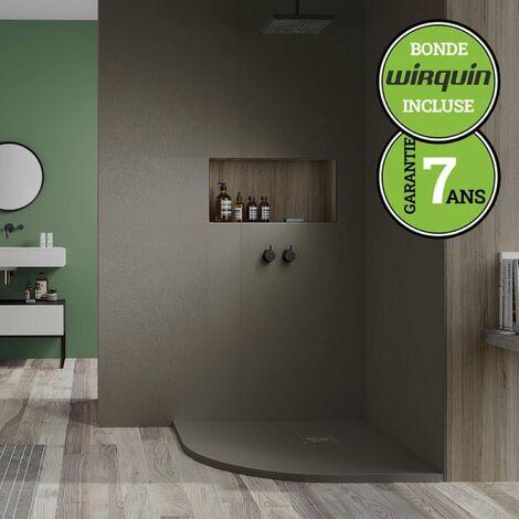Receveur de douche extra-plat - Semi-Circulaire - 90x90 cm | Marron Moka