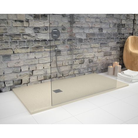 Receveur de douche extra plat STRATO surface ardoisée, rectangulaire beige