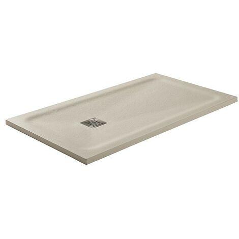 Receveur de douche Hidden charge minérale texture ardoise et charpente cachée Beige Mesure: 130x80