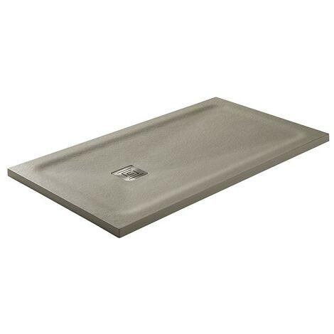Receveur de douche Hidden charge minérale texture ardoise et charpente cachée Graphite Mesure: 190x90