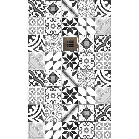 Receveur de douche Hidra 80x120 impression carreaux de ciment noir et blanc