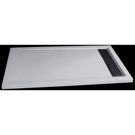 Receveur de douche rectangulaire en pierre solide (solid stone) 1480BW, 140x80x4,5cm - blanc brillant