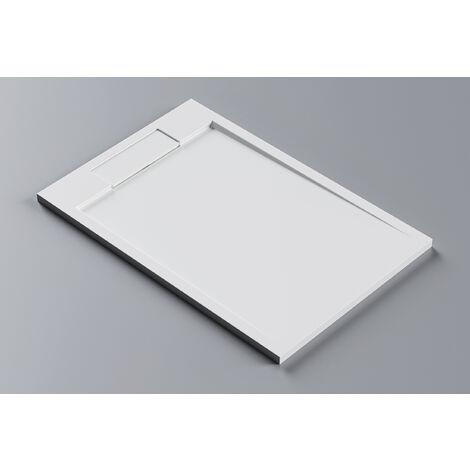 Receveur de douche rectangulaire PB3084 en pierre solide (Solid Stone) - blanc mat - 120x80x3,5cm