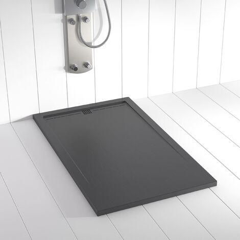 Receveur de douche Résine FLOW Gris Ardoise RAL 7011 (grille colorée) - 80x70 cm