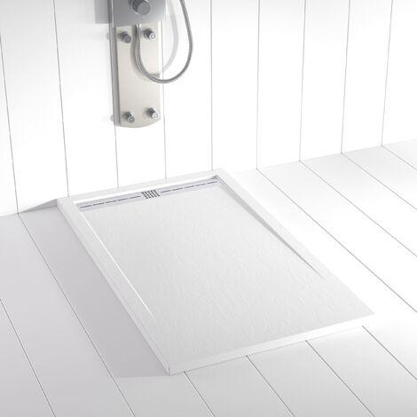 Receveur de douche Résine FLOW Blanc - 80x70 cm