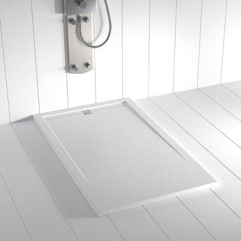 """main image of """"Receveur de douche Résine Stone FLOW Blanc (grille colorée)"""""""
