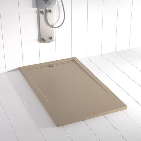 Receveur de douche Résine FLOW Moka (grille colorée) - 80x70 cm