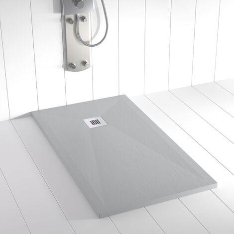 Receveur de douche Résine PLES Gris béton (RAL 7035) - 80x70 cm