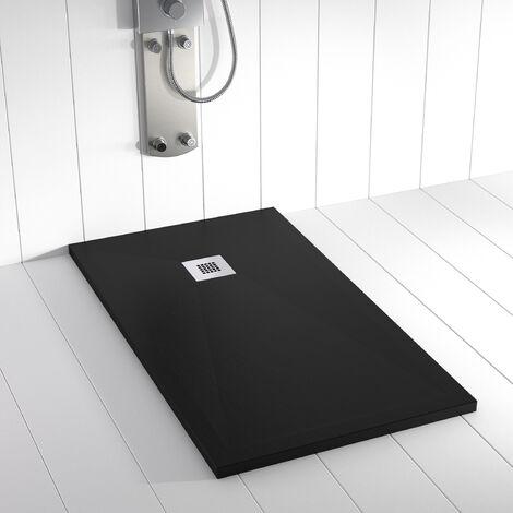 receveur de douche r sine ples noir 80x70 cm pl 080070 n. Black Bedroom Furniture Sets. Home Design Ideas