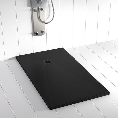 Receveur de douche Résine PLES Noir RAL 9005(grille coloure) - 90x210 cm