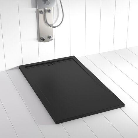 Receveur de douche Résine Stone FLOW Noir (grille colorée)